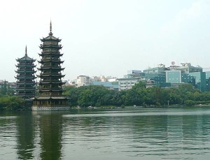 Guilin lake with pagodas