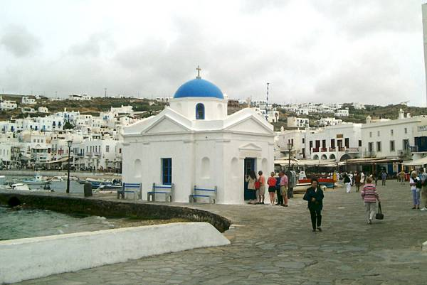 Mykonos harbour church 2